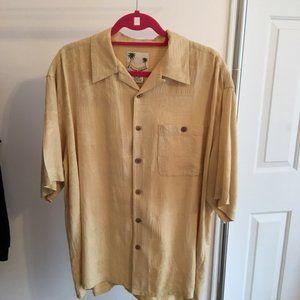 Banana Cabana Men's Yellow Camp Shirt Silk Size XL